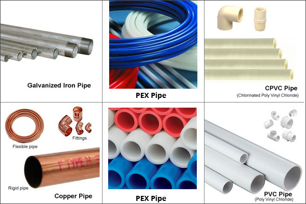 Images of galvanized iron pipe, PEX pipe, CPVC pipe, copper pipe and PVC pipe
