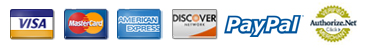 We accept VISA, MasterCard, American Express, Discover and PayPal through Authorize.net